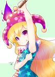 1girl :p american_flag_shirt aozora_market armpits blonde_hair blush clownpiece fairy_wings hat jester_cap long_hair looking_at_viewer solo tongue tongue_out torch touhou very_long_hair violet_eyes wavy_hair wings