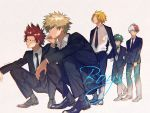 4boys absurdres alternate_costume bakugou_katsuki black_necktie black_pants blazer boku_no_hero_academia collared_shirt enn_hero full_body highres jacket kaminari_denki kirishima_eijirou midoriya_izuku multiple_boys necktie pants shirt shoes simple_background todoroki_shouto tuxedo white_background