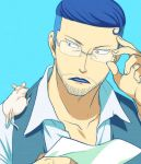 beard blue_hair facial_hair glasses iceburg jii lowres male one_piece tyranosaurus_(one_piece)
