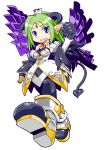 alfine arm_warmers blue_eyes boots crown demon_girl demon_tail earrings elbow_gloves gloves green_hair pantyhose pointy_ears shinrabansho simple_background tail wings