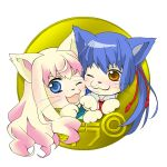 1girl animal_ears blue_eyes blue_hair blush brown_eyes cat cat_ears chibi couple curls curly_hair long_hair macross macross_frontier open_mouth paws pink_hair ponytail saotome_alto sheryl_nome smile whiskers wink