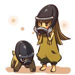 1girl barefoot blonde_hair blush_stickers gloves helmet hitec long_hair mask moemon personification pokemon pokemon_(creature) pokemon_(game) pokemon_dppt shieldon