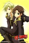 blonde_hair brown_hair fujii_maki green_eyes highres male mikage_(07-ghost) military official_art smile teito_klein