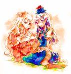 fujiwara_no_mokou highres kamishirasawa_keine multiple_girls scroll shinoasa touhou traditional_media watercolor_(medium)