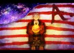 1boy america_(hetalia) american_flag asahi-higure axis_powers_hetalia blonde_hair blue_eyes glasses gloves highres jacket solo space star_(sky) wall