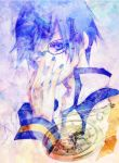 adjusting_glasses blue_eyes blue_hair glasses kaito kanade kisaragi_kanade male nail_polish pocket_watch short_hair solo vocaloid watch