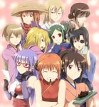 bad_id blonde_hair blue_eyes blush brown_eyes brown_hair china_dress chinadress chinese_clothes double_bun everyone eyepatch flat_chest gintama glasses green_hair happy hatsu_(gintama) ikumatsu japanese_clothes kagura_(gintama) kijima_matako kimono long_hair maid maruki_(punchiki) mutsu_(gintama) ninja okita_mitsuba orange_hair purple_hair red_eyes sarutobi_ayame scarf shimura_tae short_hair tama_(gintama) yagyu_kyubei yagyuu_kyuubei