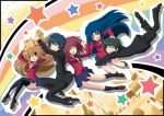 bad_id hug jumping kawashima_ami kitamura_yuusaku kushieda_minori motoi_ayumu palmtop_tiger rainbow school_uniform star takasu_ryuuji thigh-highs thighhighs tiger toradora!