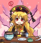 1girl belly_rub black_dress blonde_hair blush_stickers bowl chinese_clothes cup dress drinking_glass empty food food_on_face hair_ornament junko_(touhou) long_sleeves looking_at_viewer open_mouth plate pote_(ptkan) red_eyes sash smile solo tabard touhou visible_air wide_sleeves