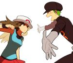 1boy 1girl :d ^_^ annoyed blue_(pokemon) blue_shirt blush brown_eyes brown_hair clenched_hand closed_eyes clothes_writing gloves green_hair happy hat hetero li_sakura long_hair long_sleeves looking_at_another miniskirt motion_blur open_mouth outstretched_arms pokemon pokemon_(game) pokemon_frlg porkpie_hat pounce profile red_skirt shaded_face shirt simple_background skirt sleeveless sleeveless_shirt smile team_rocket team_rocket_grunt uniform white_background wristband