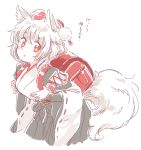 1girl animal_ears backpack bag breasts detached_sleeves hat inubashiri_momiji kourindou_tengu_costume mitsumoto_jouji randoseru red_eyes short_hair simple_background skirt solo tail tokin_hat touhou translated white_background white_hair wolf_ears wolf_tail