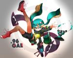 1girl agent_3 aqua_eyes aqua_hair bike_shorts copyright_name domino_mask falling gun hair_ornament hide448 highres holding_weapon ink_tank inkling long_sleeves looking_at_viewer mask paint_splatter shoes single_vertical_stripe sneakers solo splatoon sprinkler tentacle_hair turtleneck twitter_username vest weapon