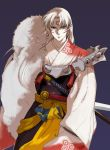 1boy armor blue_background facial_mark forehead_mark fur_trim inuyasha japanese_clothes kimono long_hair looking_at_viewer male_focus niko_(silent.whitesnow) pointy_ears ribbon sesshoumaru simple_background solo sword weapon white_skin wide_sleeves yellow_ribbon