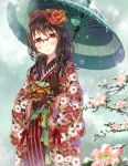 1girl blush brown_hair floral_print flower glasses gloves green_eyes hair_flower hair_ornament hair_ribbon japanese_clothes kimono long_hair nekozuki_yuki original ribbon semi-rimless_glasses smile snow solo umbrella