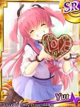 1girl angel_beats! chocolate chocolate_heart closed_eyes demon_tail grin heart long_hair pink_hair remotaro school_uniform serafuku sleeves_rolled_up smile tail twintails two_side_up yui_(angel_beats!)
