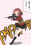 1girl assault_rifle calomini firing girls_und_panzer gloves gun headset load_bearing_equipment open_mouth operator red_eyes rifle rosehip short_hair skirt smile solo translation_request uniform weapon