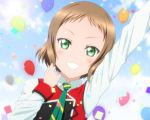 1girl a-rise balloon bangs blush brown_hair green_eyes grin kazuma_(theworld000021) kira_tsubasa looking_at_viewer love_live!_school_idol_project necktie official_style shirt short_hair sky smile solo sunny_day_song vest white_shirt