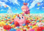 1girl 1other :d ^_^ afloat blue_eyes blue_sky blush closed_eyes clouds cloudy_sky commentary_request dress fairy fairy_wings field flower flower_field hair_ornament hal_laboratory_inc. head_wreath hitotubosi hoshi_no_kirby hoshi_no_kirby_64 kirby kirby_(series) kirby_64 long_sleeves nature nintendo open_mouth petals pink_hair pink_puff_ball red_ribbon ribbon ribbon_(kirby) short_hair sitting sky smile wings