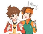 2boys brown_eyes brown_hair closed_eyes crossover danball_senki food headband inazuma_eleven_(series) inazuma_eleven_go korean male_focus multiple_boys open_mouth short_hair simple_background t_(toddy_t) translation_request upper_body white_background yamano_ban