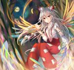 1girl bamboo bamboo_forest bow forest fujiwara_no_mokou full_moon hair_bow kazu_(muchuukai) long_hair long_sleeves moon nature ofuda open_mouth pants phoenix_wings red_eyes shirt silver_hair solo suspenders torn_clothes torn_sleeves touhou very_long_hair wings