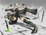 1girl aiming armor artist_name bangs belt black_gloves black_legwear bra_strap closed_mouth crack dagger dual_wielding finger_on_trigger full_body garter_straps gia glasses gloves gradient gradient_background green_eyes gun gungrave hair_ornament handgun headgear holster knee_pads knife lens_flare long_hair looking_to_the_side on_floor one_knee original planted_knife planted_weapon semi-rimless_glasses shadow shell_casing signature silver_hair sleeveless smoke solo thigh-highs thigh_holster thigh_strap trigger_discipline under-rim_glasses unitard waist_cape weapon wrist_cuffs