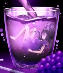 1girl beifeng_han breasts character_name food fruit grapes heart long_hair miyaura_sanshio open_mouth original purple smile solo violet_eyes