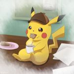 commentary_request cookie cup detective_pikachu eating food great_detective_pikachu:_the_birth_of_a_new_duo hat highres no_humans pikachu pokemon pokemon_(creature) sitting solo