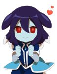 1girl blue_skin clenched_hands inazuma_eleven_(series) inazuma_eleven_go inazuma_eleven_go_galaxy long_hair looking_at_viewer multicolored_hair purple_hair red_eyes sekina simple_background smile solo two-tone_hair urumi_chapupu white_background white_hair