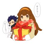 1boy 1girl brown_eyes brown_hair christmas gift hairband inazuma_eleven_(series) inazuma_eleven_go inazuma_eleven_go_chrono_stone long_hair mittens nanobana_kinako no_pupils open_mouth scarf sekina simple_background tsurugi_kyousuke upper_body white_background