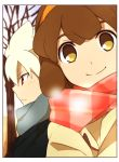 1boy 1girl bare_tree border brown_eyes brown_hair hairband hakuryuu_(inazuma_eleven) inazuma_eleven_(series) inazuma_eleven_go inazuma_eleven_go_chrono_stone looking_at_viewer nanobana_kinako no_pupils outdoors profile red_eyes scarf sekina smile tree