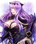 1girl argyle argyle_background black_gloves breasts camilla_(fire_emblem_if) cleavage fire_emblem fire_emblem_if gloves hair_over_one_eye horns large_breasts long_hair open_mouth pink_eyes purple_hair smile solo sumimoto_ryuu upper_body vambraces very_long_hair