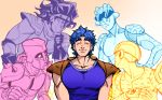 1boy artist_name blue_hair closed_eyes crazy_diamond gold_experience gradient gradient_background jojo_no_kimyou_na_bouken jonathan_joestar muscle shoulder_pads signature smile sparkle stand_(jojo) star_platinum stone_free wasabu