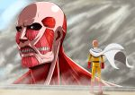 2boys absurdres bald blue_eyes cape colossal_titan crossover derivative_work gloves high_resolution highres large_filesize multiple_boys one-punch_man saitama_(one-punch_man) shingeki_no_kyojin takahirokun titan_(shingeki_no_kyojin)