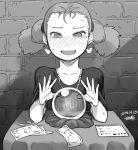 1girl antenna_hair blush character_request crystal_ball dated earrings forehead greyscale heart heart_earrings jewelry money monochrome solo teardrop tsukudani_(coke-buta) twintails