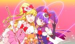 2girls :d asahina_mirai bear black_gloves black_hat blonde_hair blush bow cowboy_shot creature cure_magical cure_miracle eye_contact gloves hair_bow hairband half_updo hat izayoi_liko long_hair looking_at_another mahou_girls_precure! mini_hat mini_witch_hat mofurun_(mahou_girls_precure!) multiple_girls open_mouth pink_background pink_bow pink_eyes pink_hat pink_skirt ponytail precure purple_hair red_bow sekihara_umina skirt smile violet_eyes white_gloves witch_hat