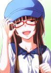 1girl :d amagami brown_eyes brown_hair collarbone glass hat kamizaki_risa long_hair looking_at_viewer open_mouth shouji_nigou smile solo teeth