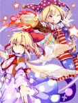 2girls american_flag_legwear american_flag_shirt bangs blonde_hair bow clownpiece collar dress fire frilled_collar frills gengetsu hair_bow hat highres jester_cap long_hair long_sleeves looking_at_viewer multiple_girls one_eye_closed outstretched_arm pantyhose polka_dot red_bow red_eyes red_ribbon ribbon tongue tongue_out torch touhou touhou_(pc-98) wadante white_dress white_wings wings