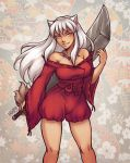 adapted_costume breasts genderswap huge_weapon iahfy inuyasha inuyasha_(character) large_breasts weapon white_hair