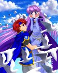 1boy 1girl 74 belly_chain bird blue_dress blue_eyes blush cape carrying cloak clouds cloudy_sky dress embarrassed eye_contact fire_emblem fire_emblem:_fuuin_no_tsurugi gloves hands_on_own_face headband hetero jewelry long_hair long_sleeves looking_at_another open_mouth purple_hair redhead roy_(fire_emblem) sky smile sofiya surprised very_long_hair violet_eyes