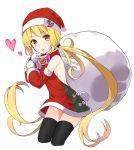 1girl blonde_hair gloves hat highres kantai_collection long_hair max_melon_teitoku sack santa_costume santa_hat satsuki_(kantai_collection) skirt smile twintails yellow_eyes