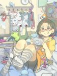 >:q 1girl :q ahoge alien antennae bed bent_knees bookshelf bow box brown_hair cable compass foreshortening game_console glasses globe grey_legwear hair_bobbles hair_bow hair_ornament hairclip handheld_game_console helmet interior kneehighs lying monitor muted_color on_back on_bed original pillow playing_games playstation_portable poripori_(popocox) red-framed_glasses room school_uniform sega_mega_drive short_sleeves short_twintails skirt smile solo space_helmet spacesuit striped striped_legwear toes tongue tongue_out twintails