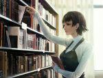1girl bad_id book brown_eyes brown_hair highres library namako_mikan niishima_makoto persona persona_5 short_hair solo