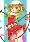 1girl ass_visible_through_thighs bare_arms bare_shoulders belt blonde_hair flandre_scarlet hat hat_ribbon long_hair looking_at_viewer midriff mob_cap navel open_mouth red_eyes ribbon shirt side_ponytail skirt skirt_set sleeveless sleeveless_shirt smile solo thighs touhou upskirt uumaru1869 wings wrist_cuffs