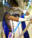 1boy arjuna_(fate/grand_order) armlet arrow black_hair bow_(weapon) brown_eyes brown_hair cape covering_face dark_skin elbow_gloves fate/grand_order fate_(series) gloves hair_between_eyes holding_weapon leaf looking_at_viewer magic male_focus petals plant ragu00 skin_tight solo standing tunic water_droplets weapon wet wet_hair