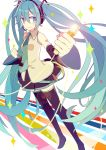 1girl aqua_eyes aqua_hair aqua_necktie bare_shoulders black_legwear boots clenched_hand detached_sleeves golden hair_between_eyes hatsune_miku headphones headset holding holding_microphone long_hair microphone necktie skirt sleeveless smile solo sparkle standing thigh-highs thigh_boots twintails very_long_hair vocaloid yoshiki