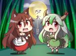 2girls animal_ears bamboo bamboo_forest blush breasts brooch brown_hair chibi collarbone dress ex-keine fang feiton forest full_moon green_hair hat horn_ribbon horns imaizumi_kagerou jewelry kamishirasawa_keine long_hair long_sleeves looking_at_viewer moon multiple_girls nature off_shoulder open_mouth red_eyes ribbon sukusuku_hakutaku suspenders tail touhou translation_request wide_sleeves wolf_ears wolf_tail