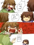 4koma androgynous brown_hair chara_(undertale) closed_eyes collared_shirt comic frisk_(undertale) highres korean koyashaka red_eyes shirt shouting spoilers striped striped_sweater sweatdrop sweater tagme translation_request undertale