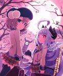 2girls ahoge angel_wings blue_eyes briefcase bright_pupils brown_hair character_request clock clock_tower demon_tail dutch_angle full_moon hat highres horns lavender_hair long_sleeves looking_at_viewer makai_shin_trillion moon multiple_girls nanameda_kei night official_art outdoors plaid plaid_skirt pleated_skirt red_eyes ruche school_uniform short_hair skirt tail thigh-highs tower wings