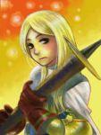 1girl armor cape final_fantasy final_fantasy_tactics gloves kikimimi_612 knight_(fft) long_hair solo sword weapon