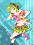 1girl ;d ahoge ankle_boots badge bare_shoulders blue_background blue_legwear boots bracelet breasts buckle buttons cable cleavage collarbone digital_media_player english green_eyes green_hair green_skirt gumi hairband hand_on_headphones headphones highres holding jewelry kneehighs leg_up musical_note navel off-shoulder_shirt one_eye_closed open_mouth pink_boots plaid plaid_skirt pleated_skirt polka_dot polka_dot_bracelet purple_ribbon ribbon round_teeth sakia shirt short_hair simple_background skirt sleeve_cuffs smile smiley_face solo standing stomach striped striped_background tareme teeth vocaloid